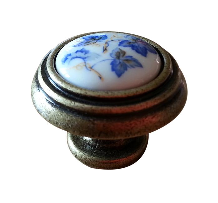 Tirador porcelana blanca y bronce - Tiradores de porcelana ...